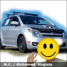"Scion xA Roof Rack with Yakima Q Towers Car Rack System & 38"" Wind Deflector"