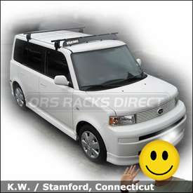 Scion xB Roof Rack and Wind Fairing with Yakima Q Towers & 50 inch Faring