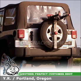 Spare Tire Bike Rack for Jeep Wrangler Sahara Rear Mounted Spare Wheel