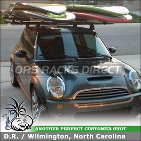 """Stand-Up Paddleboards SUP Rack for Mini Cooper Car Rack Crossbars using Thule 810 SUP Taxi and Yakima Q Towers (w/ Q78 Clips & 66"""" Bars)"""
