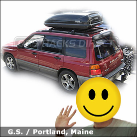 Subaru Forester with Thule 954 Ridgeline Hitch Bike Rack and Thule 677XT Cascade Cargo Box