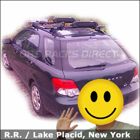 Subaru Impreza Roof Rack for Bike & Skis / Snowboards with Yakima Lowrider Car Rack, Yakima Boa, and Yakima Powderhound