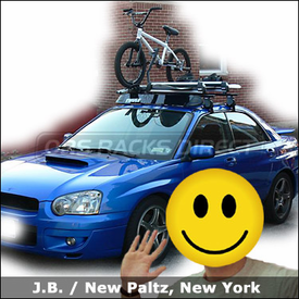 Subaru Impreza WRX Roof Rack for Bike & Snowboards with Thule 400XT Aero Base Rack, 91724 Snowboard Rack & 598 Criterium