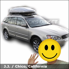 Subaru Outback Factory Roof Rack with Thule 686XT Atlantis 1600 Cargo Box