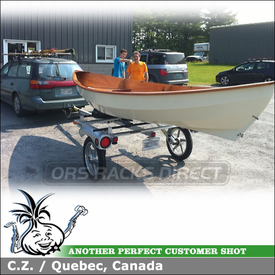 Subaru Outback Sailboat Trailer using Yakima RACKandROLL 66 Boat Trailer & EvenKeel Saddles