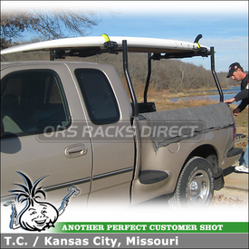 Surfboard-SUP-Kayak-Canoe Locking Strap Rack for Cross Bars on a 1997 Ford F-150 Pickup Truck