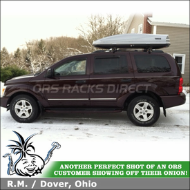 Thule 1800 Atlantis Cargo-Ski Box On 2004 Dodge Durango Factory Side Rails Mount Roof Rack Crossbars System