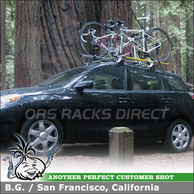 Thule and RockyMounts Bike Tray Mounts for 2008 Toyota Matrix Roof Rack Crossbars