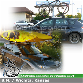 Thule Hullaports and Yakima FrontLoader on 2011 Subaru WRX Whispbar Through Bar Roof Rack