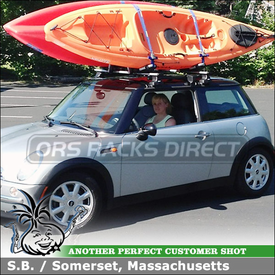 Thule Short Roof Cartop Rack for Kayak J Cradles on a 2003 Mini Cooper