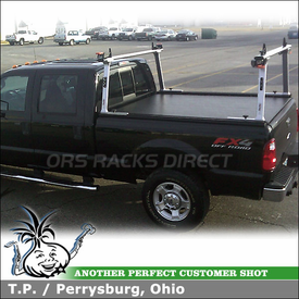 Tonneau Cover & Truck Rack for 2010 Ford F-250 Super Duty using TracRac G2 Sliding Track Rack, TracTonneau, TracKnobs & Cargo Buckles