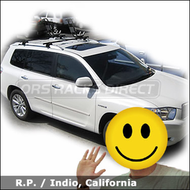 Toyota Highlander Kayak Roof Rack with Yakima Lowrider System and HullRaiser Kayak Carrier