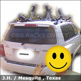 Toyota Highlander Roof Rack for Kayaks with Thule 835XTR Hull-a-Port Kayak Carriers