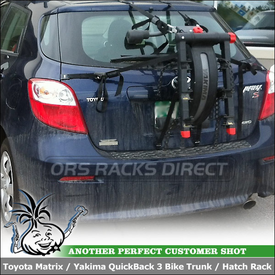 Toyota Matrix Hatchback Strap Rack for 3 Bicycles Using Yakima QuickBack Trunk Bicycle Carrier