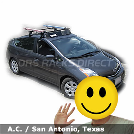 Toyota Prius Bike Roof Rack with Thule 400XT, Fairing, and RockyMount Lariat SL