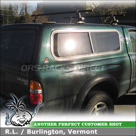 Toyota Tacoma Leer Cap Roof Rack using Yakima Bolt Top Loader Brackets, Yakima 1A Towers & Crossbars