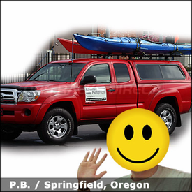 Toyota Tacoma Truck Shell Roof Rack for Kayaks with Thule 430 Tracker II System & 881 TopDeck Kayak Racks
