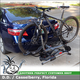 """Trailer Hitch Bike Rack for 2008 Toyota Camry using Yakima HoldUp for 1-1/4"""" Trailer Hitches"""