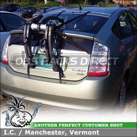 Trunk Bike Rack for Toyota Prius using Saris Bones 2 Bike Trunk Mount Rack