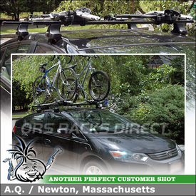 Two Bike Racks for 2010 Honda Insight Roof Rack Cross Bars using Thule 480 Traverse (w/ 1562 Fit Kit & LB58 Bars) and 598 Criterium