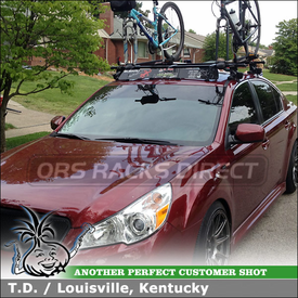 Two Bike Rooftop Cross Bars Rack with Wind Deflector for 2011 Subaru Legacy Sedan