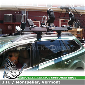 Two Kayak Racks Mounted To Thule Roof Rack Crossbars On 2012 Subaru Outback Factory Side Rails using Thule 897XT Hullavator, 834 Hull-a-Port & 45050 CrossRoad