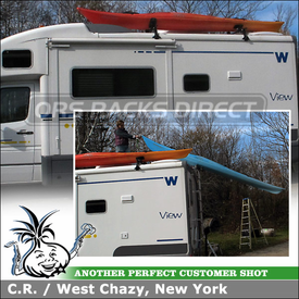 "Two Kayak Racks + Roof Rack Cross Bars for 2006 Winnebago View RV Camper using Thule 387 High Gutter Foot Pack, 96"" Bars, 883 Glide & Set, Yakima Hully Rollers"