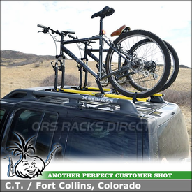 Two RockyMounts TieRod Bike Racks Installed On 2006 Nissan XTerra Factory Cross Bars