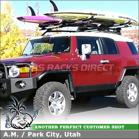 Two Stand-Up Paddleboard Racks for 2010 Toyota FJ Cruiser Roof Rack Cross Bars using Thule 450 CrossRoad System &  810 SUP Taxi