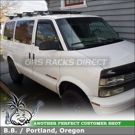 Van Roof Rack Cross Bars and Fairing for 2002 Chevy Astro Van Factory Side Rails
