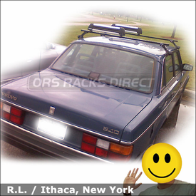 Volvo 240 Roof Rack for Skis with Thule 300 Raingutter System & 91724 Flat Top Ski-Snowboard Rack