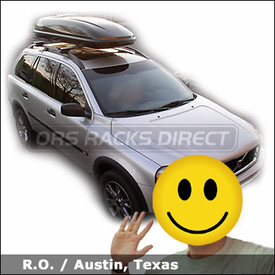 Volvo XC90 with Thule 450R Rapid CrossRoad Roof Rack and Thule 678XT Cascade 1700 Cargo Box