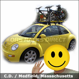 "VW Beetle with Yakima Q Tower Roof Rack, Q Stretch Kit, 44"" Fairing and RockyMount Lariat SL Bike Racks"