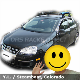 VW Jetta Car Rack for Bikes with Thule 400XT Roof Rack & RockyMounts Lariat SL Bike Racks