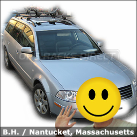 VW Passat Roof Rack for Kayak with Yakima Lowrider Base System and Yakima Mako / HullyRoller Kayak Rack Combination