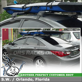 Whispbar Flush Bar Roof Rack for Surfboards on a 2013 Hyundai Sonata