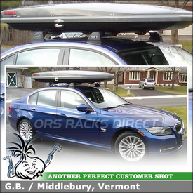 Whispbar S6 Flush Bar Roof Rack Crossbars and Yakima SkyBox LoPro Cargo Box for 2011 BMW 335i X-Drive Fixpoints