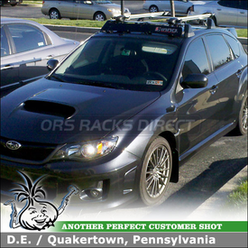 Wind Fairing and Bike Racks for 2011 Subaru WRX 5DR OEM CrossBars using Inno INA-381 Fork Lock Bike Rack, INA-261 Noise Deflector Shield