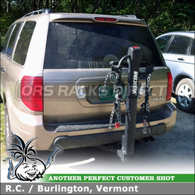 Yakima DoubleDown 4 Bike Hitch Mount Bike Rack Installed On Honda Pilot Trailer Hitch Receiver