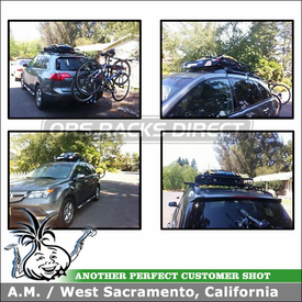 Yakima RailGrab Towers, LoadWarrior Basket and King Pin Trailer Hitch Bike Rack for 2008 Acura MDX