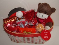 Valentine Sock Monkey Gift Basket