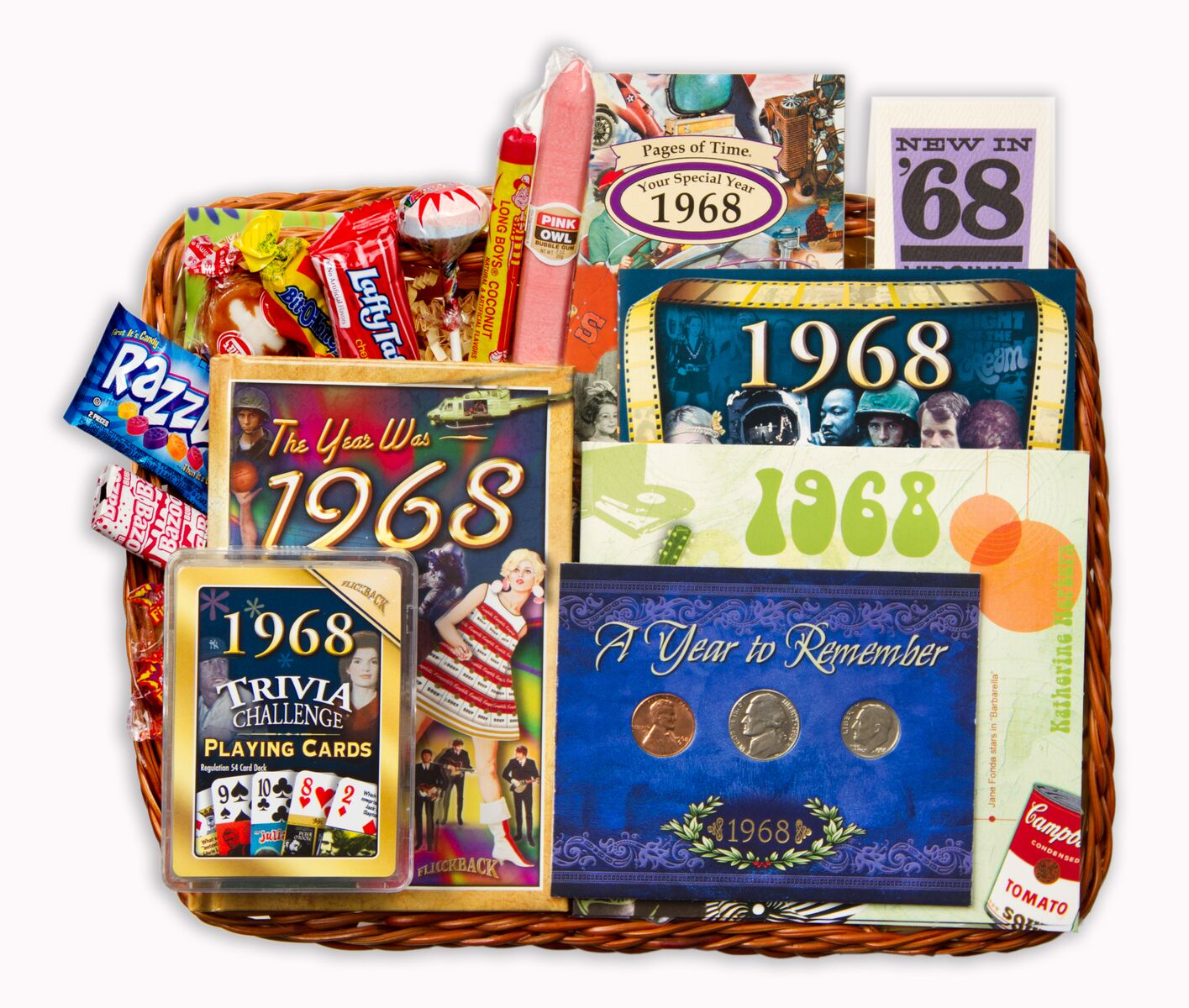 50th Birthday Gift Basket For 1968 Or 1969