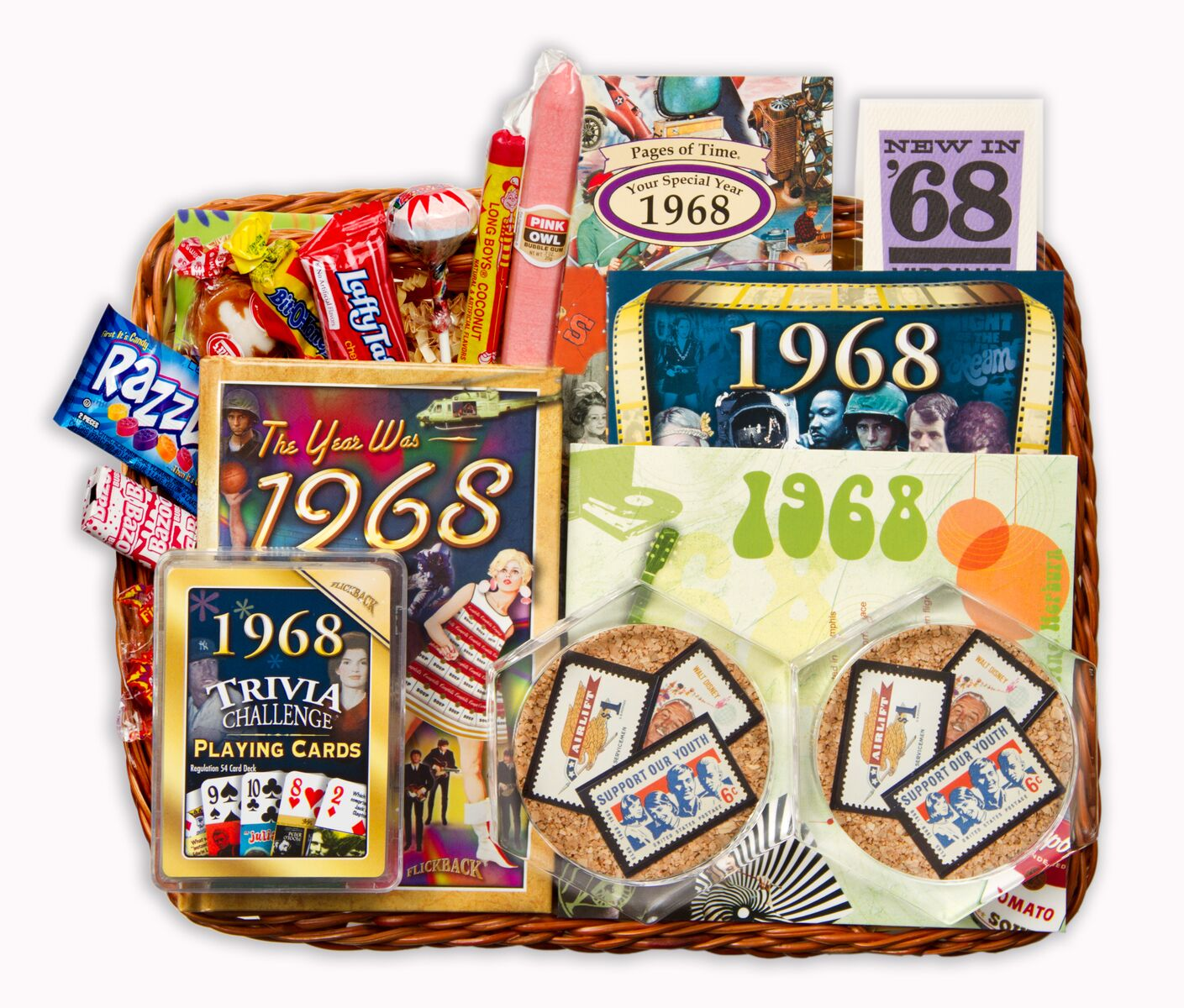 50th Birthday Gift Basket For Men: 50th Gift Basket With Stamps For 1968