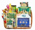 60th Birthday Gift Basket for 1957 or 1958 with Coins
