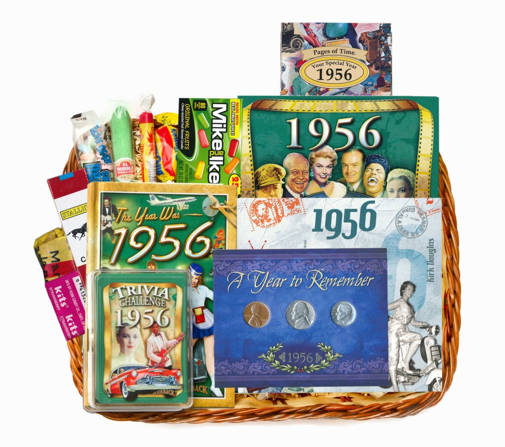 Th birthday gift basket for or with coins on