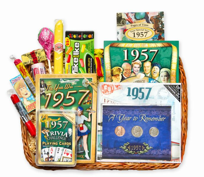 60th birthday gift basket for 1957 with coins for Gardening 60th birthday gifts