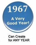 Year Button for Any Birthday in Blue
