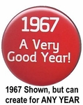 Your Year Button in Red for Any Birthday