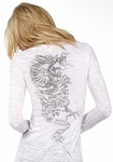 Hot Crystal Dragon & Kanji Burnout V-Neck