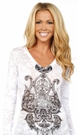 Long Sleeve V-Neck Burnout Scroll Tee